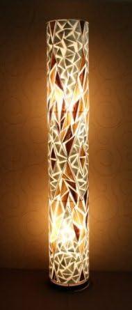 Unusual Banana Leaf White Shell Cylinder Lamp Hand Made Designer Bali Floor Lamp 150cm Amazon Co Uk Lighting