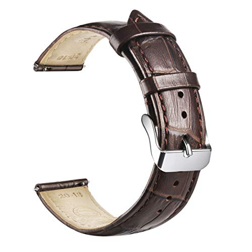 Quick Release Genuine Calf Leather Watch Band for Men or Women 18mm 20mm 21mm 22mm 24mm Width & Color Top Grain Leather Replacement Watch Strap (18mm, Dark Brown with Brown Stitching)