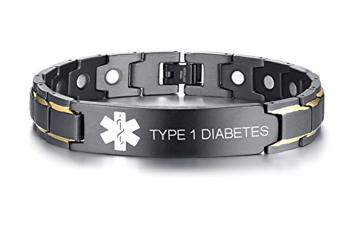 """Type 1 Diabetes Black Ion Plated Stainless Steel Magnetic Therapy Health Emergancy Medical Alert ID Bracelets for Men Dad,8.6"""""""