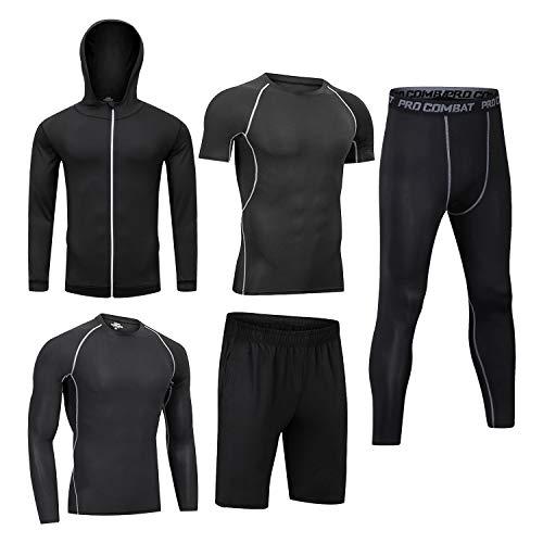 5PCS /Men Workout Outfit Set Gym Running Fitness Sportswear Kit Compression Pants Shirt Top Long Sleeve Jacket Set Black