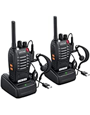 ESYNiC Walkie Talkies 2 pcs Long Range Two-Way Radio USB Cable Charging Walky Talky With Earpieces Flashlight 16CH Single Band FM Handheld Transceiver