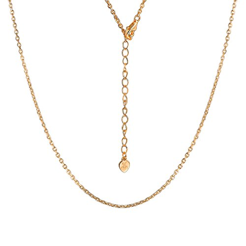 Solid 925 Sterling Silver 18K Gold Chain for Girls Boys Cable Rolo Chains Nickel-free 1mm Chain Necklace, 14 Inch