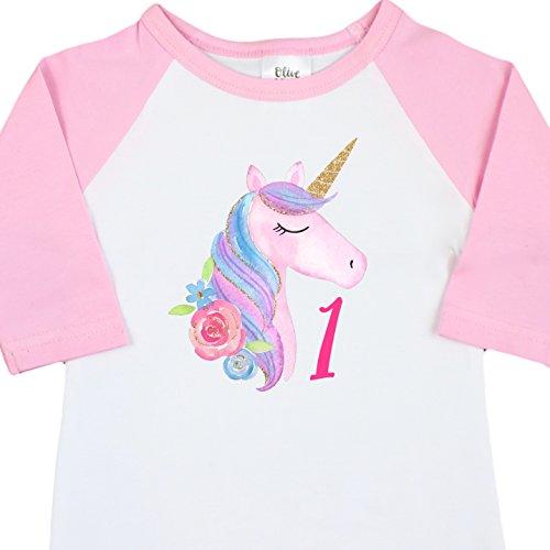 Birthday Sleeve 3/4 (Girls 1st Birthday Outfit Unicorn 1st Birthday Outfit First Birthday 3/4 Sleeve Pink Raglan)
