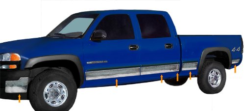 Panel Chrome Trim Rocker (Made In USA! Works With 01-06 Silverado Crew Cab Short Bed With Fender Flare Rocker Panel Chrome Stainless Steel Body Side Moulding Molding Trim Cover 6