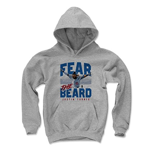 500 LEVEL Justin Turner Los Angeles Baseball Youth Sweatshirt (Kids Medium, Gray) - Justin Turner Fear The Beard B