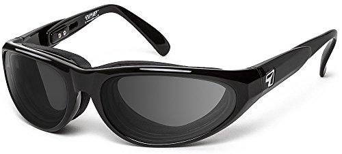 7eye Men's Polarized Diablo Resin Sunglasses,Glossy Black Frame/Re-ACT NXT Polarized Copper Lens,one size