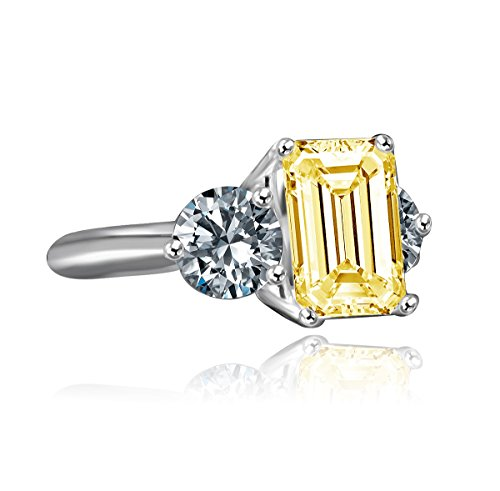 Diamond Veneer - 3.5ct Emerald Cut Stone Complimented with three stones classic vintage Engagement Ring (Canary, 5)