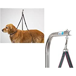 Moondon Nylon Grooming Table Harness For Dogs - 27 Inches - Adjustable Double Dog Noose