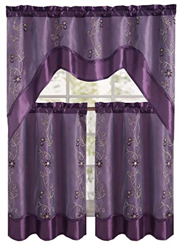 Daphne Embroidered Kitchen Curtain Set By Victoria Classics - Assorted Colors (Purple) 3 pieces one valance 57in x 36in(145cm X 91cm) two tiers 28in X 36in (71cm X 91cm)