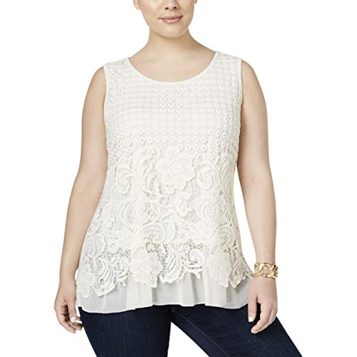 Style & Co. Womens Plus Lace Floral Print Casual Top Ivory (Style & Co Woman Floral Print Top)