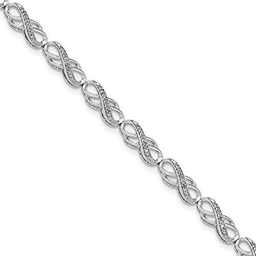 14k White Gold Diamond Heart Link Bracelet (ICE CARATS 14k White Gold Diamond Infinity Symbol Link Bracelet 7 Inch Fine Jewelry Gift Set For Women Heart)