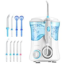 Water Flosser, ELLESYE 600ml Oral Irrigator with 9 Multifunctional Jet Tips, Dental Water Flosser for Braces Care & Teeth Cleaning, Quiet Design Family Dental Flosser for Adults & Kids Use