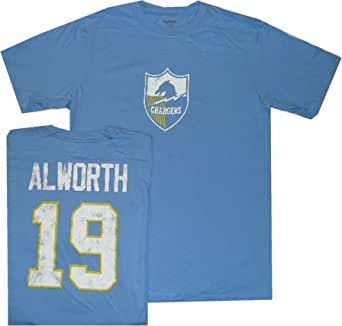 San Diego Chargers Lance Alworth Reebok Throwback Distressed T Shirt (Medium)