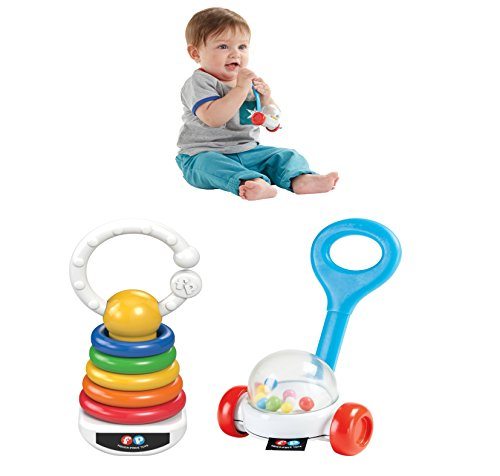 Fisher Price - Corn Popper Rattle & Rock-A-Stack Clacker Set - Inspired by the iconic Fisher-Price Corn Popper