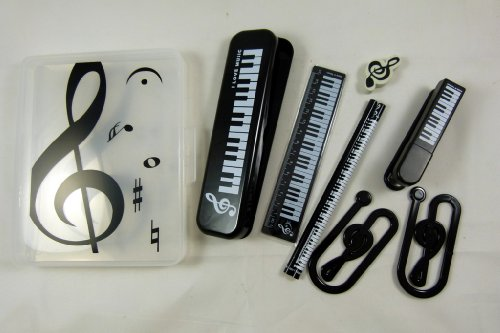 2 Boxes Stationery White - Music Themed Stationery Set - White keyboard pencil case, ruler, stapler, paper clip, eraser & 2 pencils