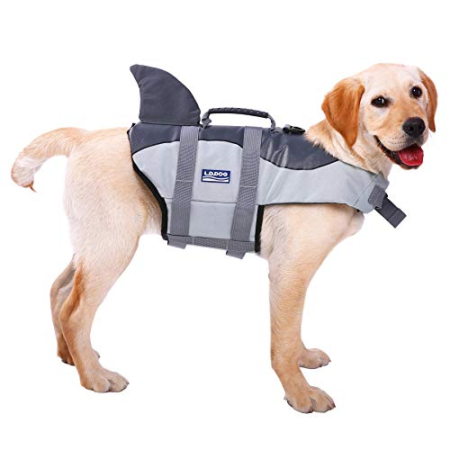 ASENKU Dog Life Jacket Ripstop Pet Floatation Vest Saver Swimsuit Preserver for Water Safety at The Pool, Beach, -