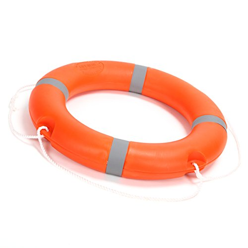 BeautySu. 28'' Diameter Professional Adult Foam Swim Ring Buoy Orange Lifering with White Bands by BeautySu. (Image #5)