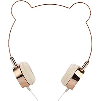 SOMOTOR Wired Headphone, Bear Ear Cute and Fashionable style Rose gold