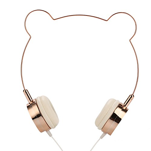 SOMOTOR Wired Panda Headphone, Bear Ear, Cute and Fashionable style Rose gold, for girls -