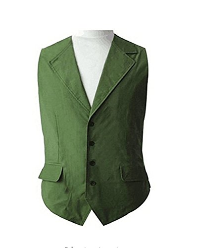 TISEA Halloween Cosplay Costume Green Vest and Blue Shirt (M, Green Vest)