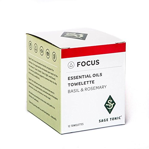 Sage Tonic Focus Essential Oils Towelette - Basil & Rosemary- Helps Focus - Refreshing, Cleansing, Individually Wrapped, Wet Wipes