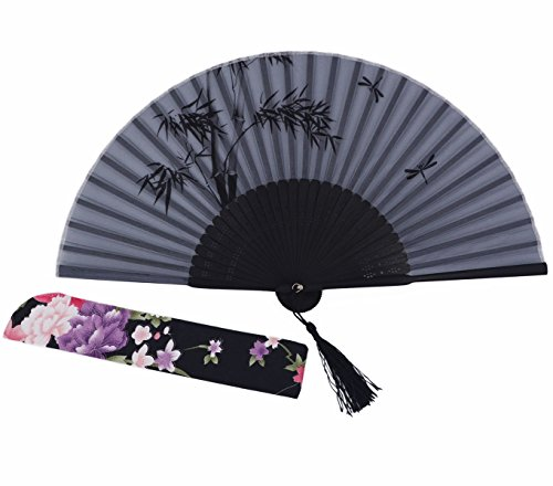 Amajiji Chinese Japanese Handheld Folding Fan, Black / White Plant and Red Seal,Chinese Vintage Retro Style (AW-2)