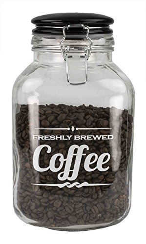 Home Basics Glass Jar with Ceramic Flip Lid Top (Coffee)