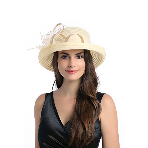 332545f5f9f63 Dantiya Lady s Organza Wide Brim Bowler Hat Kentucky Derby Church Dress Sun  Hat