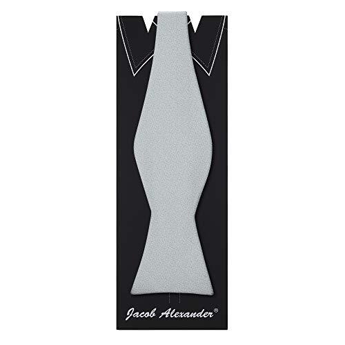 (Jacob Alexander Men's Tone on Tone Metallic Self-Tie Bow Tie - Silver)