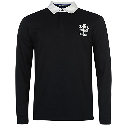 - Team Mens Rugby Long Sleeve Jersey Cotton Colour Contrasting Polo Shirt Top Scotland Small