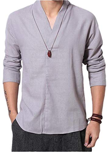 Cafuny Mens Chinese Style Stand Collar Solid Color Pullover Linen Shirts