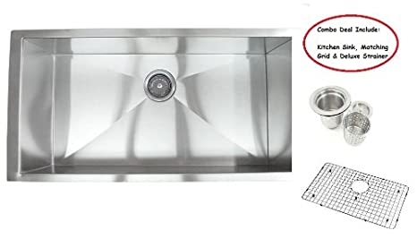 36 Inch Stainless Steel Undermount Single Bowl Kitchen Sink Zero Radius Design 16 Gauge With Free Accessories
