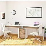 Nexera Liber-T 3 Piece Double Writing Desk Set in White and Walnut