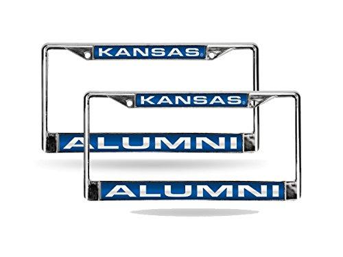 Rico Kansas Jayhawks NCAA Alumni Chrome Metal (2) Laser Cut License Plate Frame Set