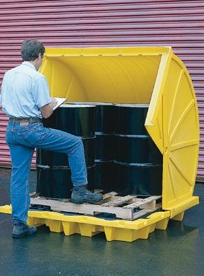 Eagle 1646RTC Yellow High Density Polyethylene 4 Drum Rotary Top Containment Unit, 73.5