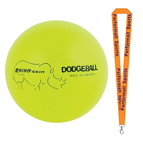 Champion Sports Rhino Skin Ball Yellow Bundle with 1 Performall Lanyard RXD6NYL-1P by Champion Sports