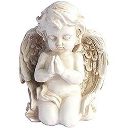 Kneeling Praying Cherub Statue Angel Statue Figurine Indoor Outdoor Home Garden Decoration Wings Angel Statue Sculpture Memorial Statue (Kneeling Praying Cherub)