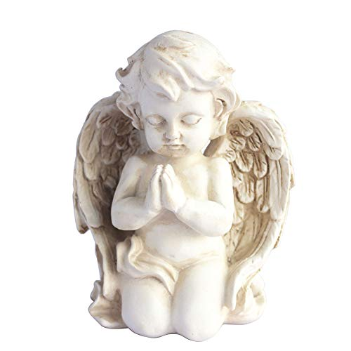 Kneeling Praying Cherub Statue Angel Statue Figurine Indoor Outdoor Home Garden Decoration Wings Angel Statue Sculpture Memorial Statue (Kneeling Praying Cherub) (Cherub Garden Statues)