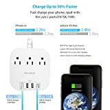Power Strip with USB C, 3 Outlets 4 USB Ports