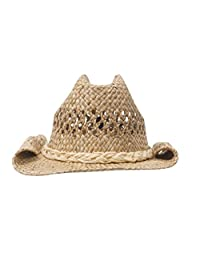MG Women's Straw Woven Cowboy Hat (Natural)