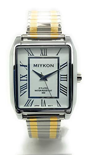 994478668bcd0 Mens Rectangle Water Resistant Miykon Watch Roman Numerals Stretch Elastic  Band Fashion Watch (Two Tone