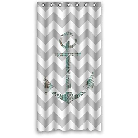 Hipster Shower Curtain   French Grey Chevron Anchor Polyester Fabric  Waterproof Shower Curtain 36u0026quot; ...