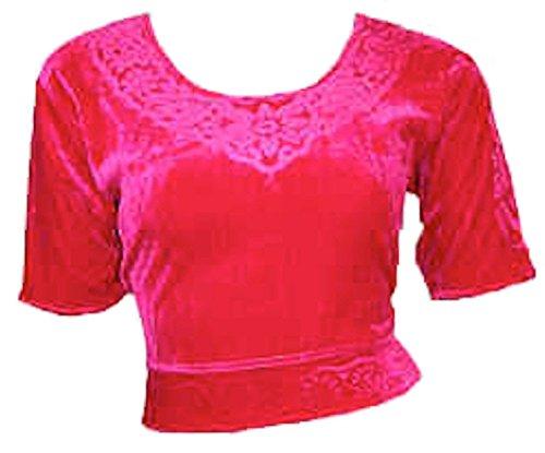 Fucsia Choli (parte alta del Sari) di velluto taglia S ideale per danza del ventre