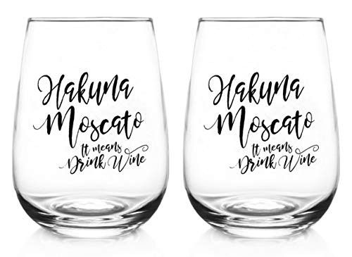 Stemless wine glasses set of 2 - Hakuna Moscato glass tumbler 17 oz - Funny sayings goblet for woman - All purpose red or white wine glassware - Christmas gift Birthday present for her wife mom sister (Best Red Moscato Wine)