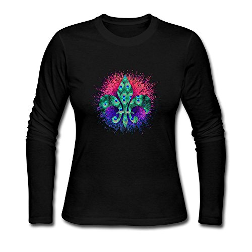 Tower Chi Tai (Ladies' PEACOCK FLEUR Long Sleeve Athletic Cotton Round Neck T-Shirt)