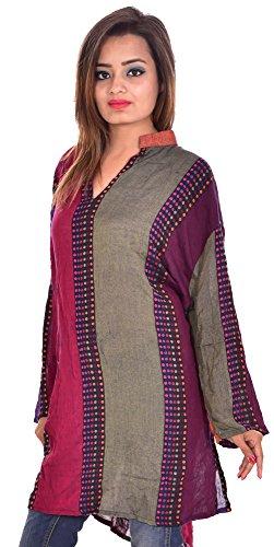 Indian-multi-Color-Rayon-Pashmina-Kurta-Top-Dots-Print-Women-EthnicTunic-Kurti-plus-size