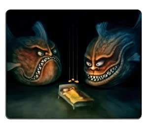 Nightmares Funny Giant Fishes Bedtime Mouse Pads Customized Made to Order Support Ready 9 7/8 Inch (250mm) X 7 7/8 Inch (200mm) X 1/16 Inch (2mm) High Quality Eco Friendly Cloth with Neoprene Rubber Luxlady Mouse Pad Desktop Mousepad Laptop Mousepads Comfortable Computer Mouse Mat Cute Gaming Mouse pad by mcsharks