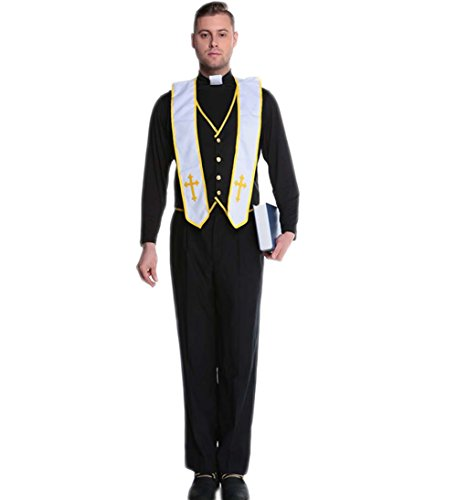 [Papaya Wear Men Missionary Costume Adult Priest Robe Halloween Costume Black3 XL] (Priest Halloween Costumes)