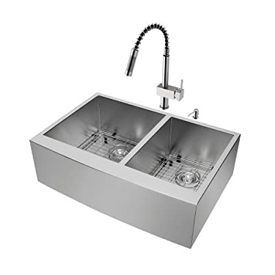 VIGO 33 inch Farmhouse Apron 60/40 Double Bowl 16 Gauge Stainless Steel Kitchen Sink with Lincroft Stainless Steel Faucet, Two Grids, Two Strainers and Soap Dispenser