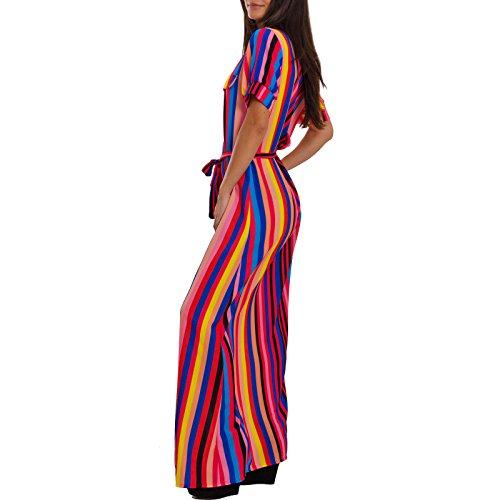 Mezze Donna Righe multicolor Maniche Scamiciato taglia Unica Vestito 0501 Abito Elegante Toocool Lungo Vb fwHqXx
